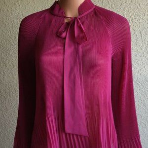 Derek Lam 10 Crossby Raspberry Sheer Ribbed Blouse